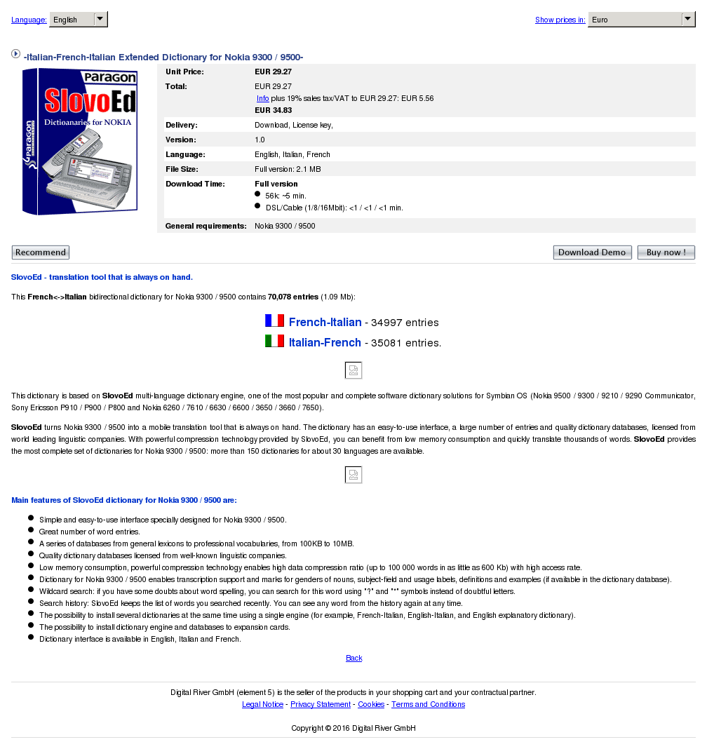 Italian French Extended Dictionary Nokia Features