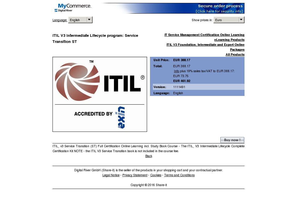 Itil Intermediate Lifecycle Program Service Transition Download
