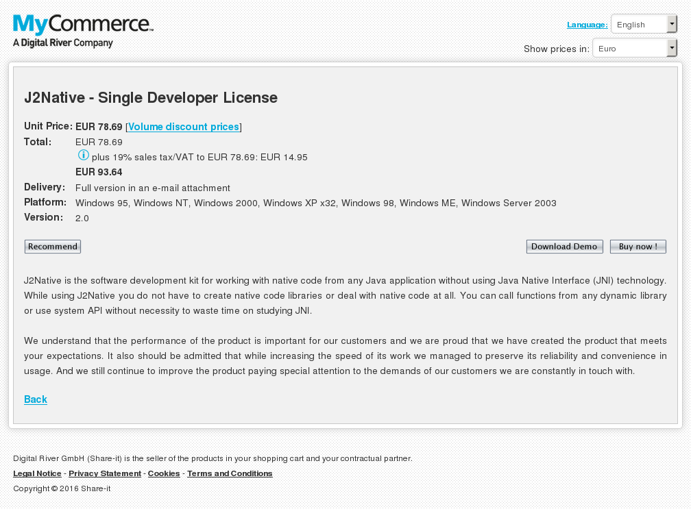 Jnative Single Developer License