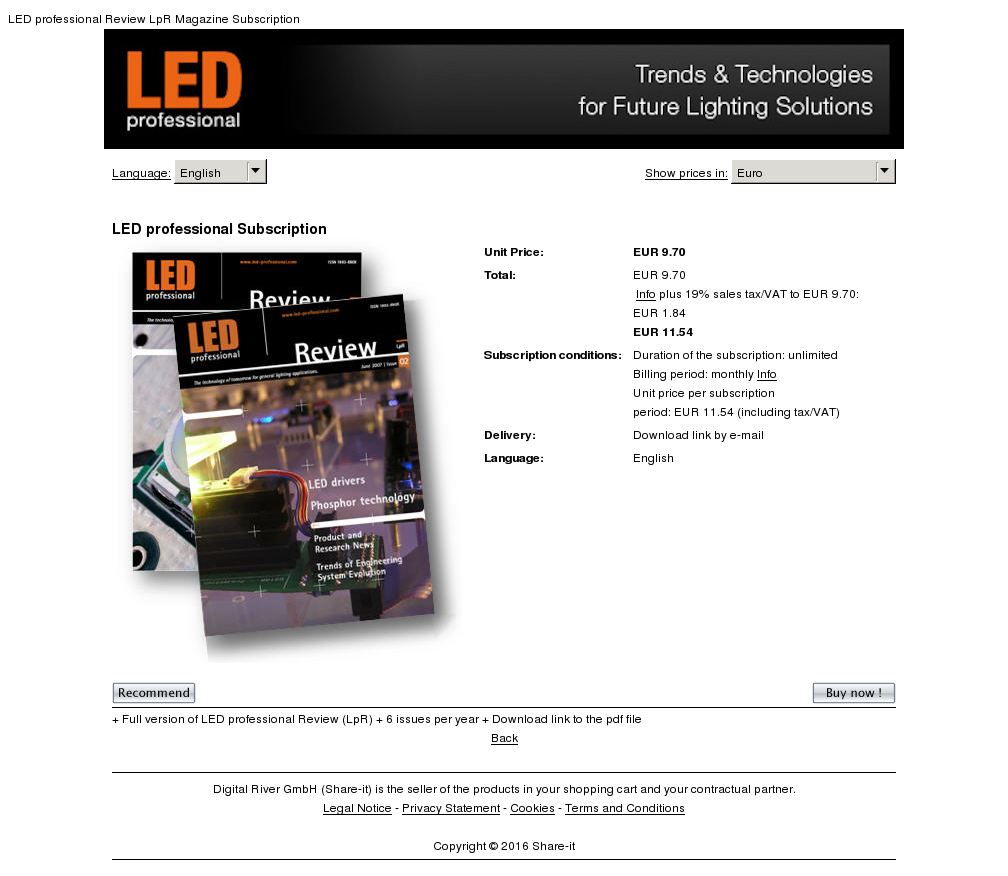 Led Professional Subscription Features