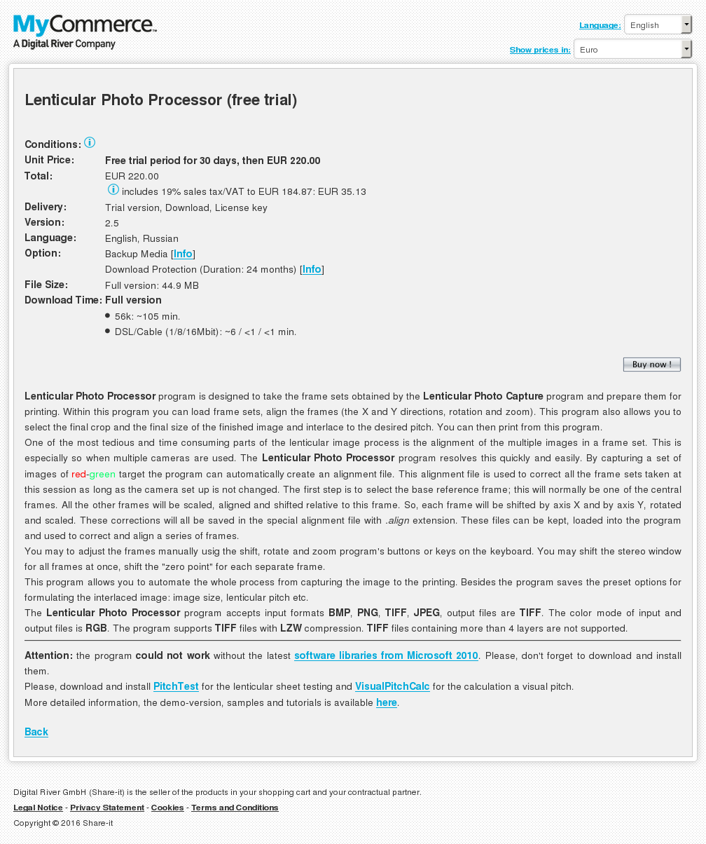 Lenticular Photo Processor Free Trial Key Information