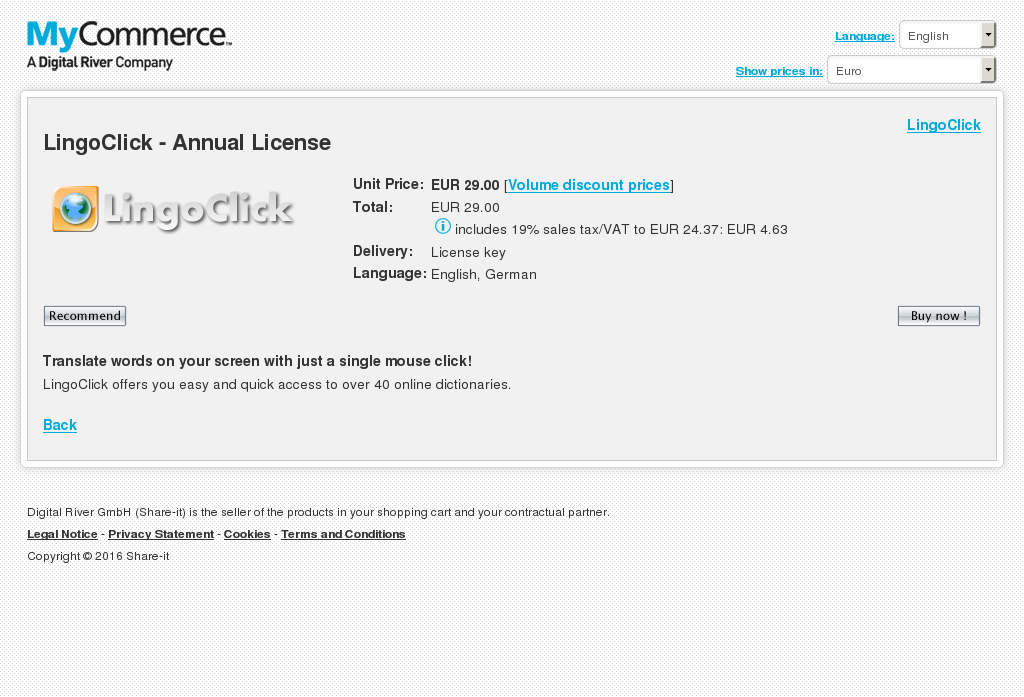 Lingoclick Annual License Howto