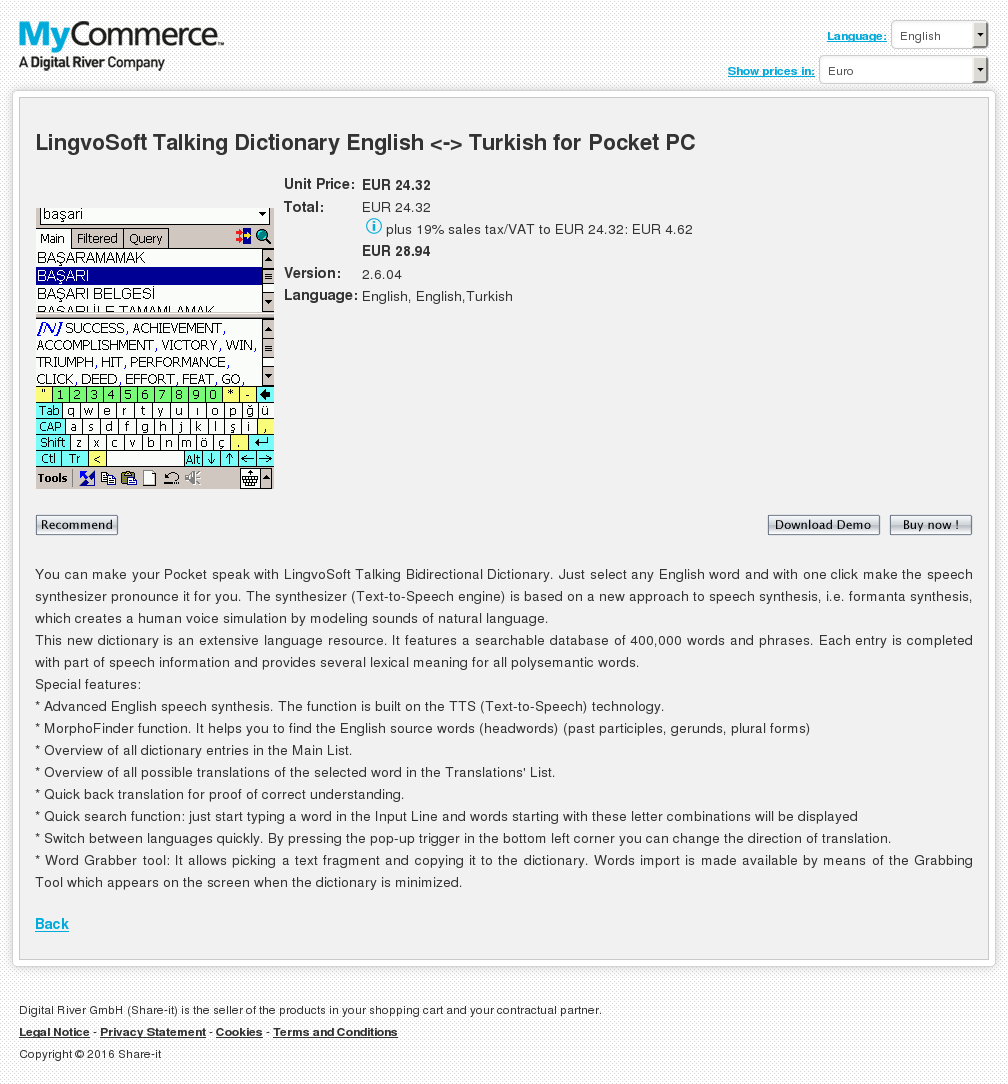 Lingvosoft Talking Dictionary English Turkish Pocket Key Information