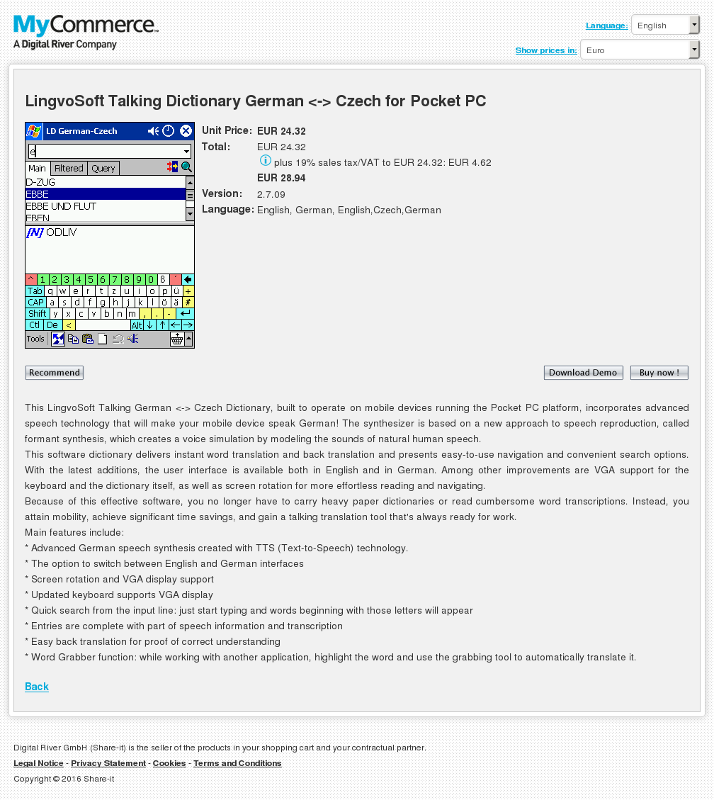 Lingvosoft Talking Dictionary German Czech Pocket Features