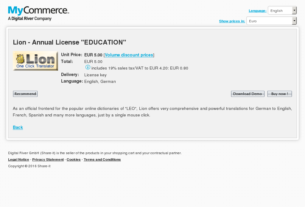 Lion Annual License Education Key Information