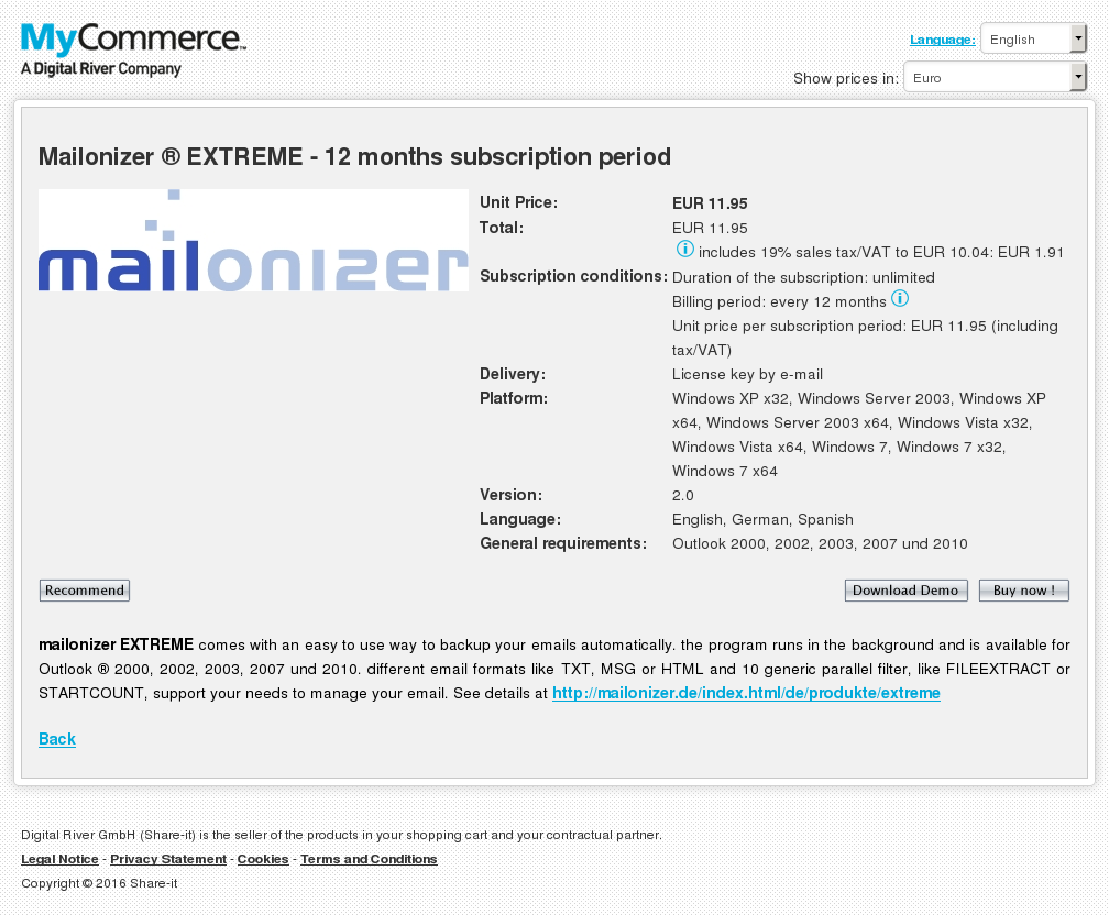 Mailonizer Extreme Months Subscription Period