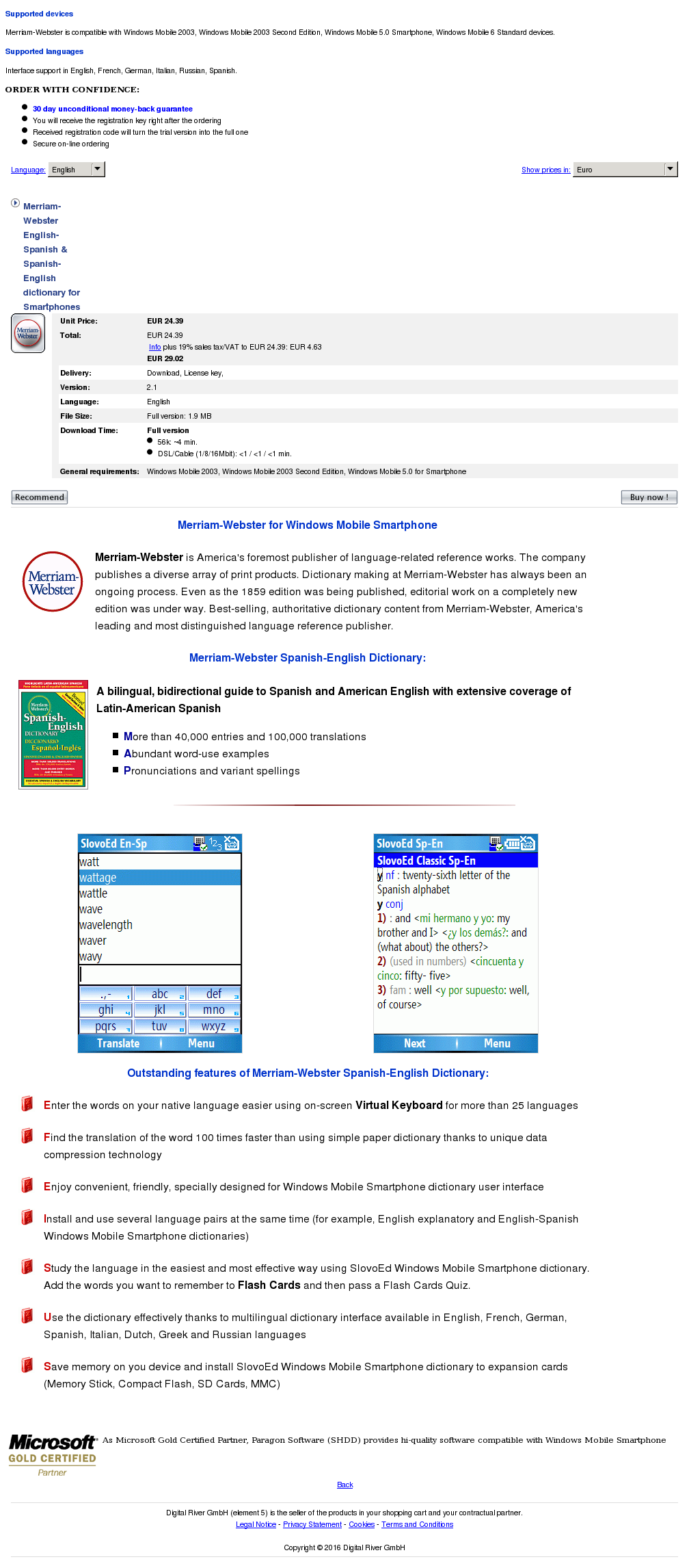Merriam Webster English Spanish Dictionary Smartphones Features