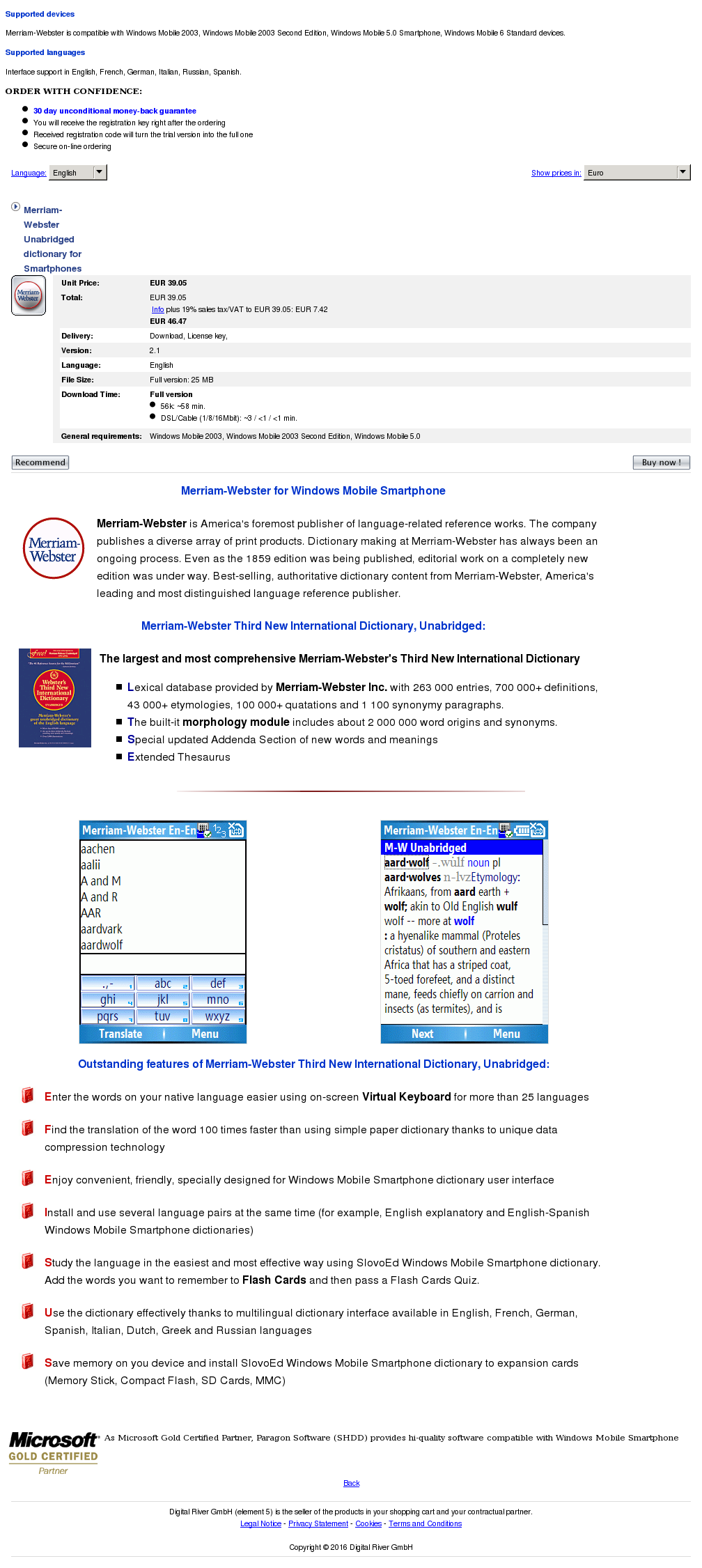 Merriam Webster Unabridged Dictionary Smartphones Review