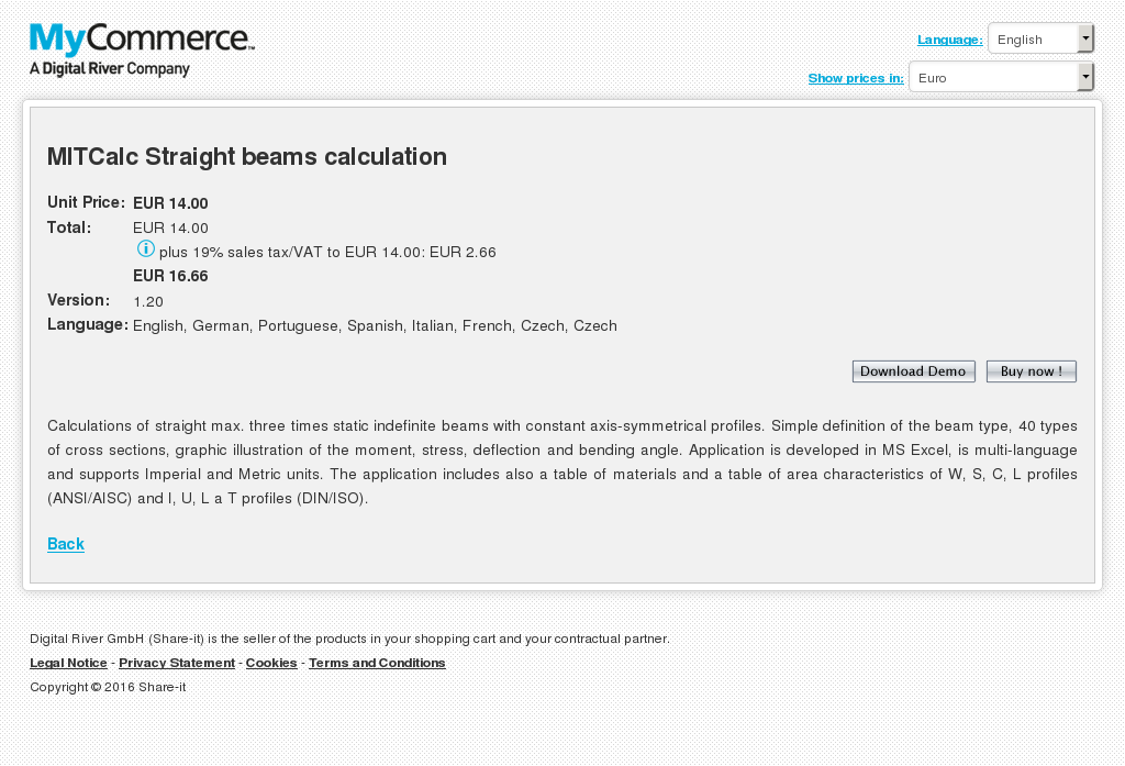 Mitcalc Straight Beams Calculation Features