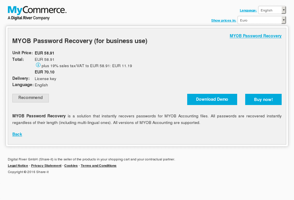 Myob Password Recovery Business Use Free