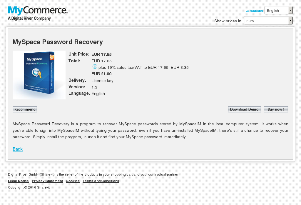 Myspace Password Recovery Features