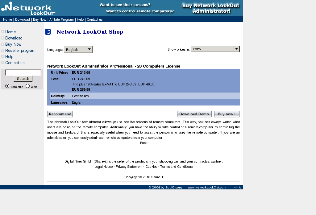 Network Lookout Administrator Professional Computers License Key Information