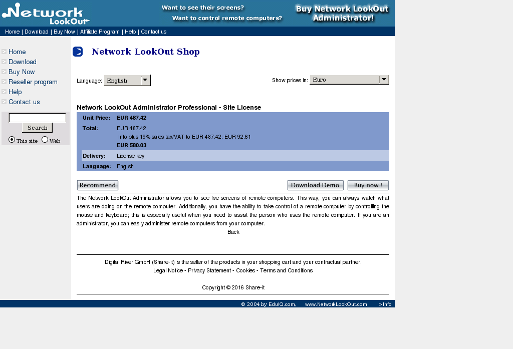 Network Lookout Administrator Professional Site License Key Information