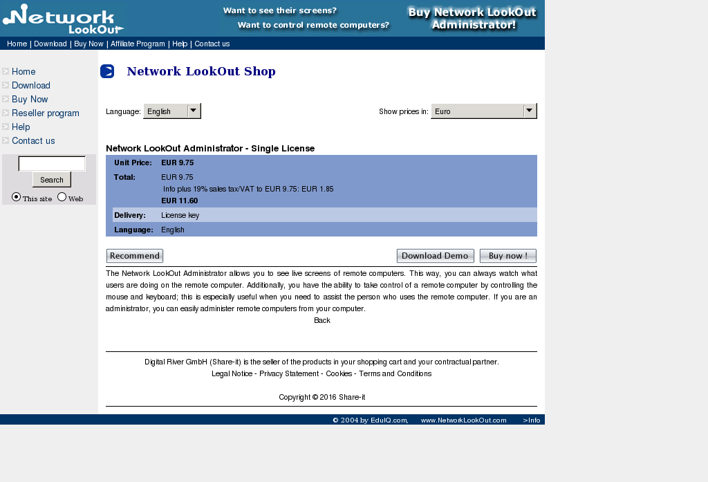 Network Lookout Administrator Single License Free