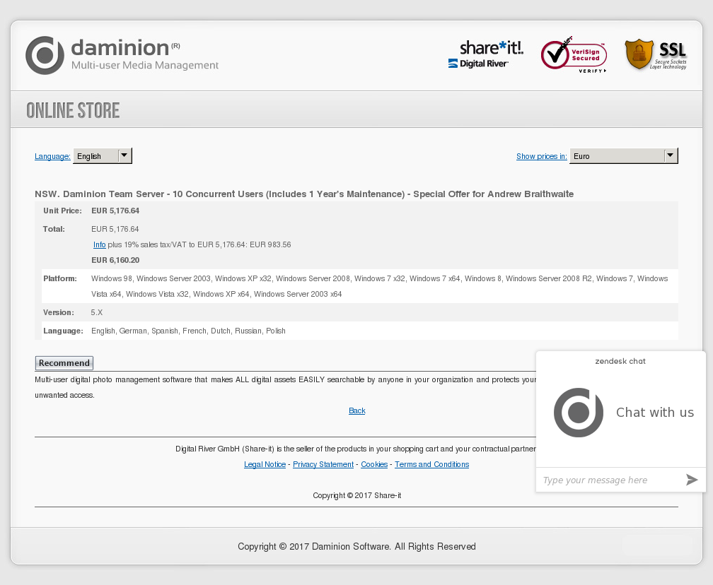 Nsw Daminion Team Server Concurrent Users Includes Year Maintenance Special Offer Andrew Braithwaite Features