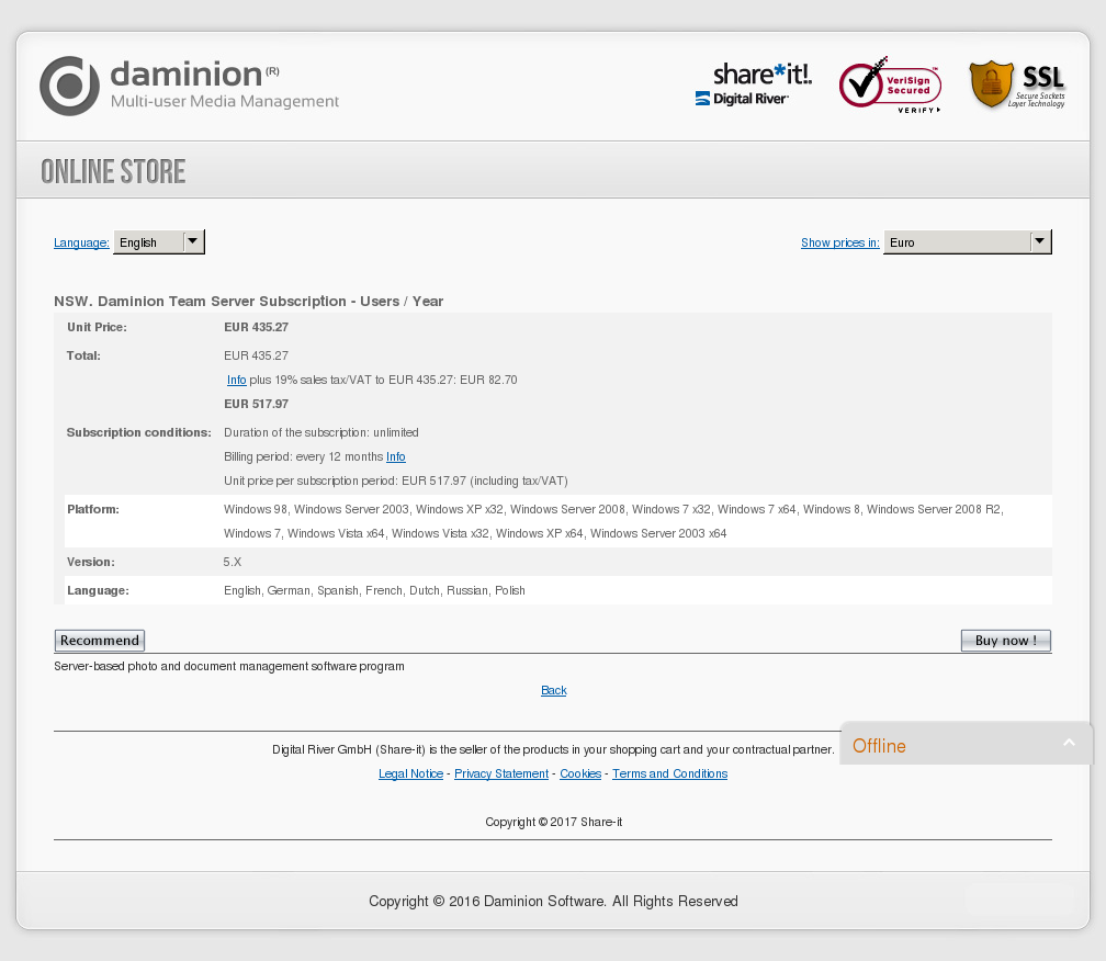 Nsw Daminion Team Server Subscription Users Year Key Information