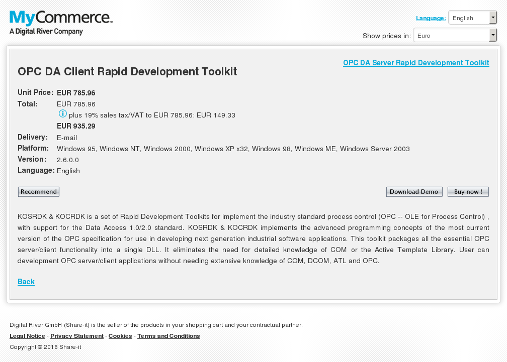Opc Server Client Rapid Development Toolkits Package