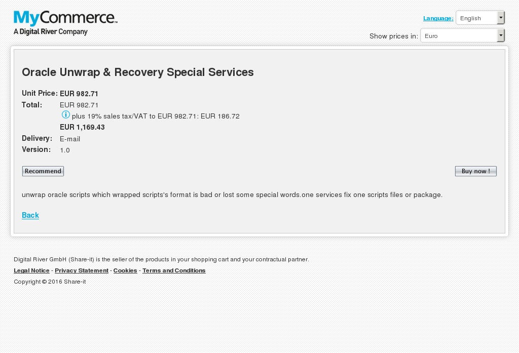 Oracle Unwrap Recovery Special Services Key Information