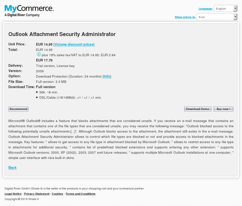 Outlook Attachment Security Administrator Key Information