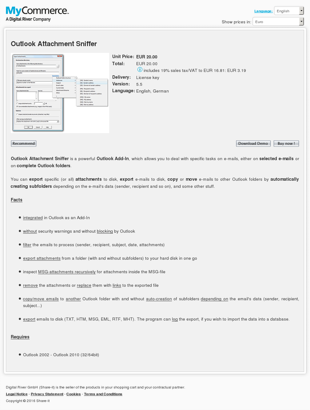 Outlook Attachment Sniffer Key Information