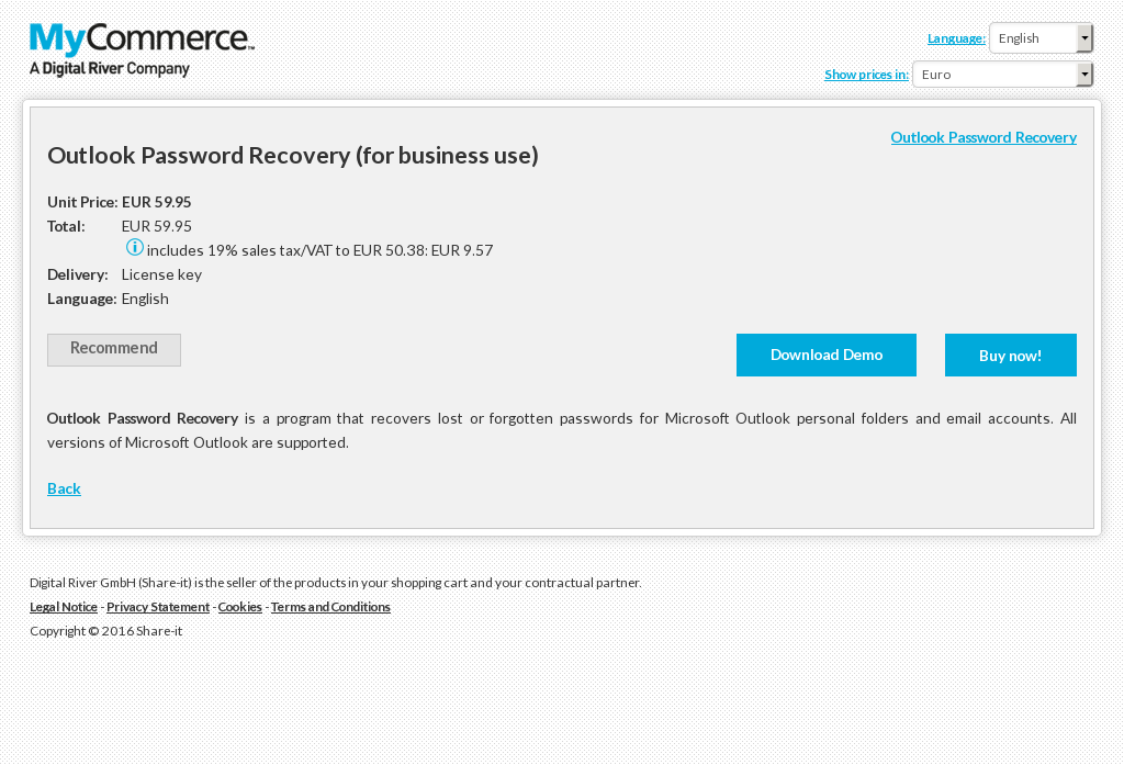 Outlook Password Recovery Business Use Features