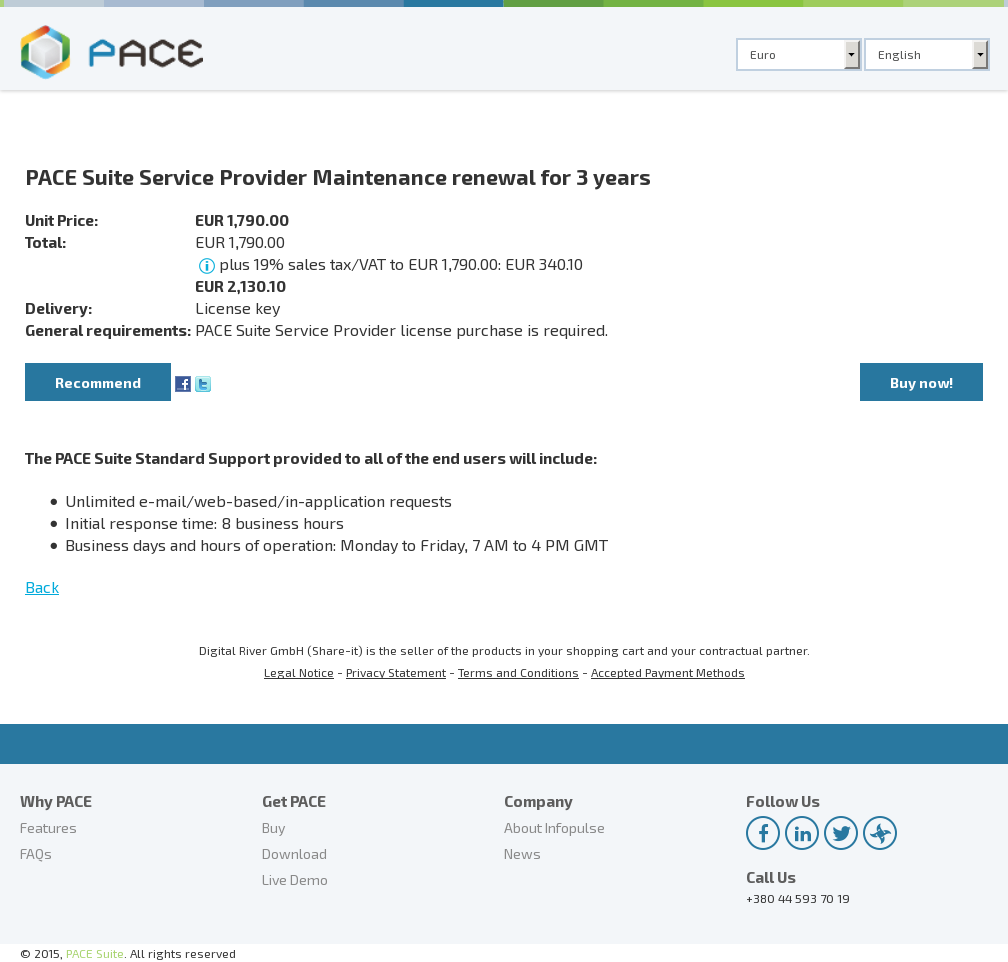 Pace Suite Service Provider Maintenance Renewal Years Key Information