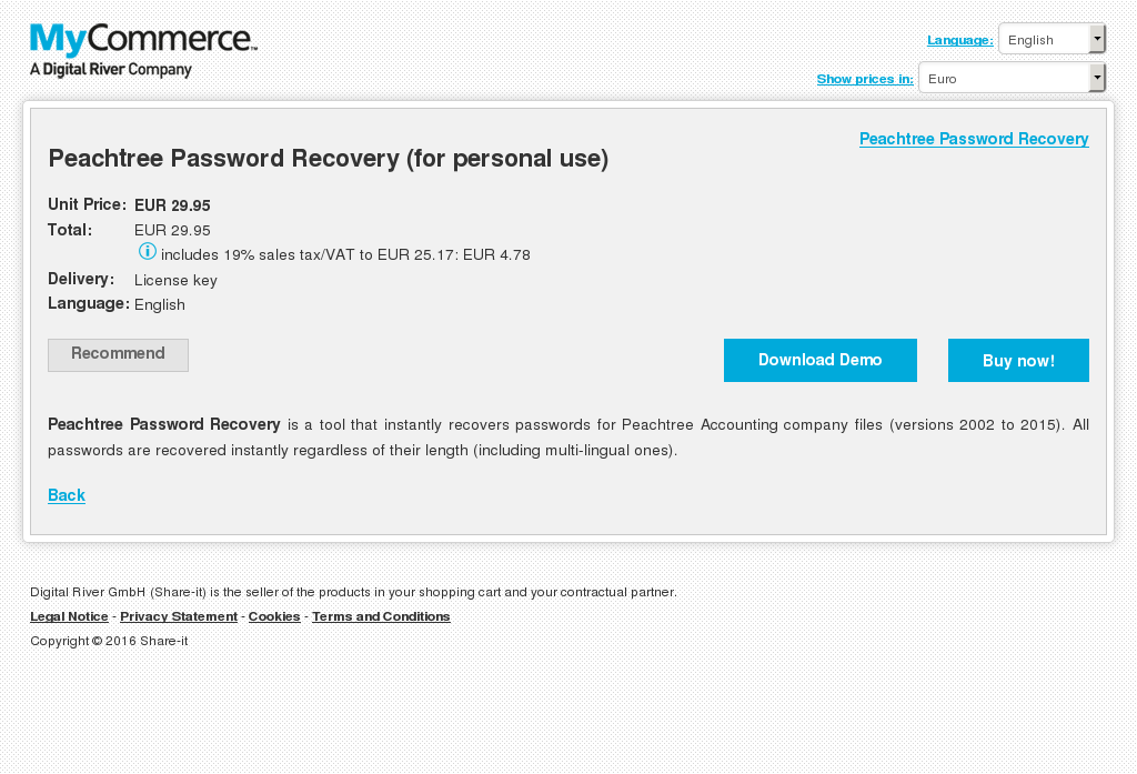 Peachtree Password Recovery Personal Use Review