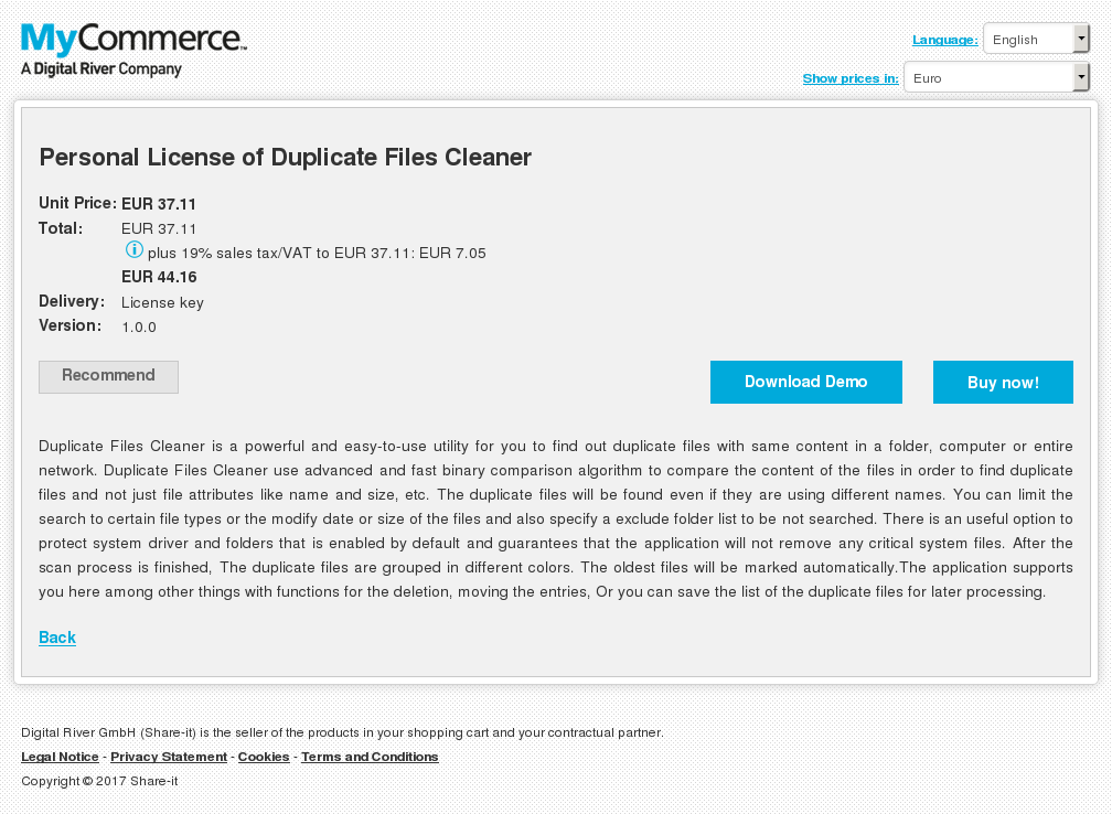 Personal License Duplicate Files Cleaner Review