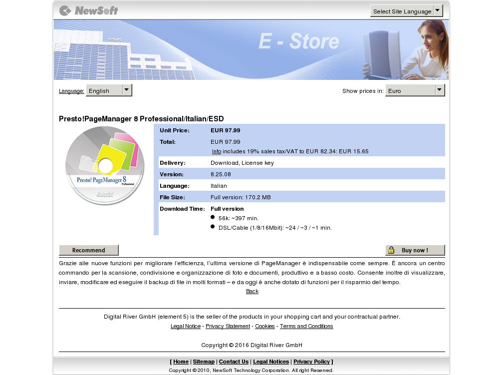 Presto Pagemanager Professional Italian Esd Key Information