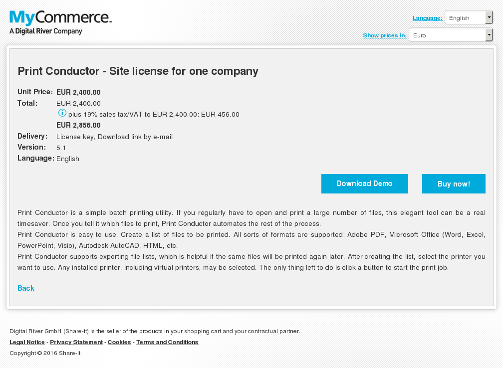 Print Conductor Site License One Company Key Information