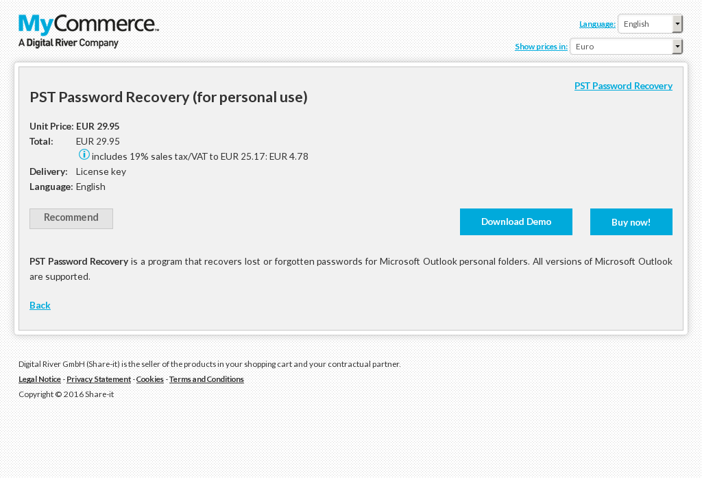 Pst Password Recovery Personal Use Features