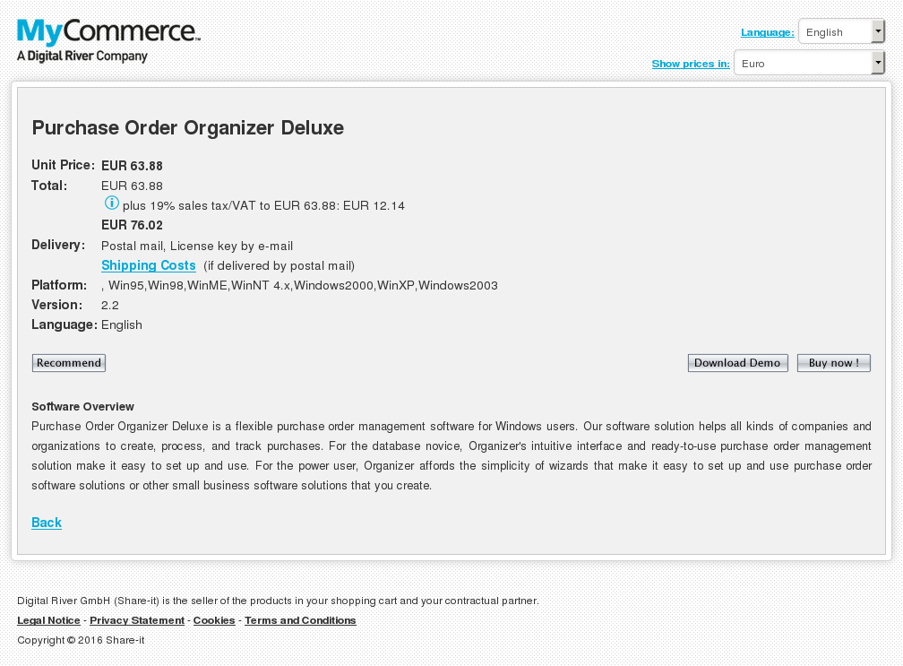 Purchase Order Organizer Deluxe Key Information