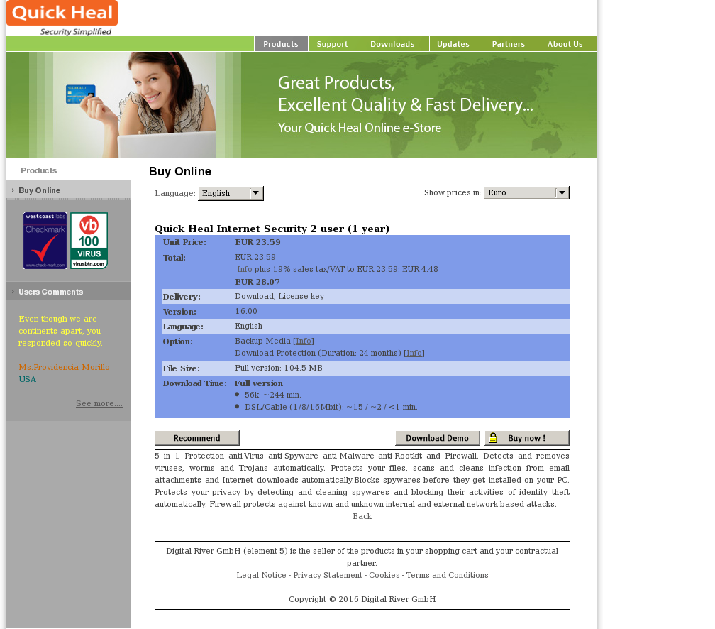 Quick Heal Internet Security User Year Key Information