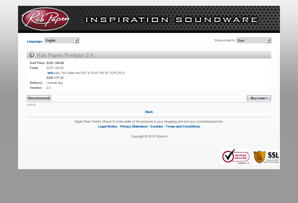 Rob Papen Predator Key Information