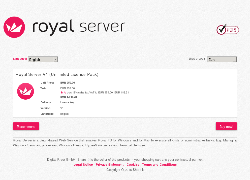 Royal Server Unlimited License Pack Key Information