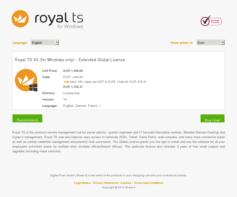 Royal Windows Only Extended Global License Key Information