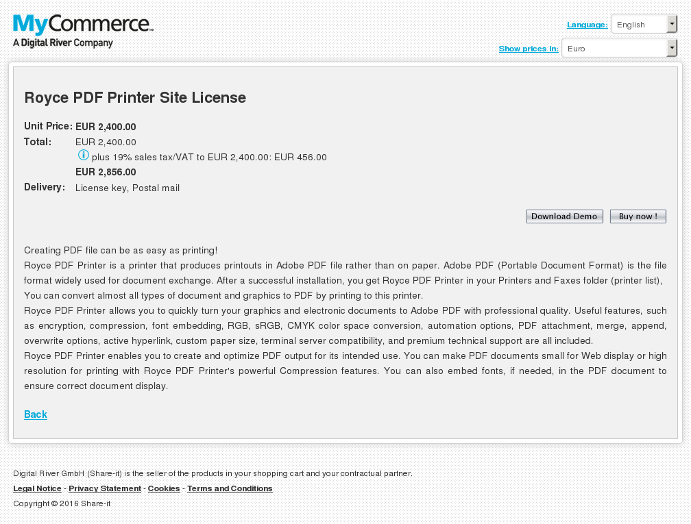 Royce Pdf Printer Site License Howto