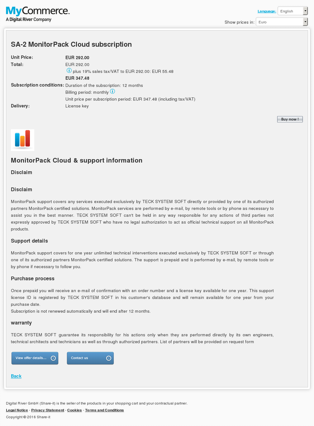 Monitorpack Cloud Subscription Key Information