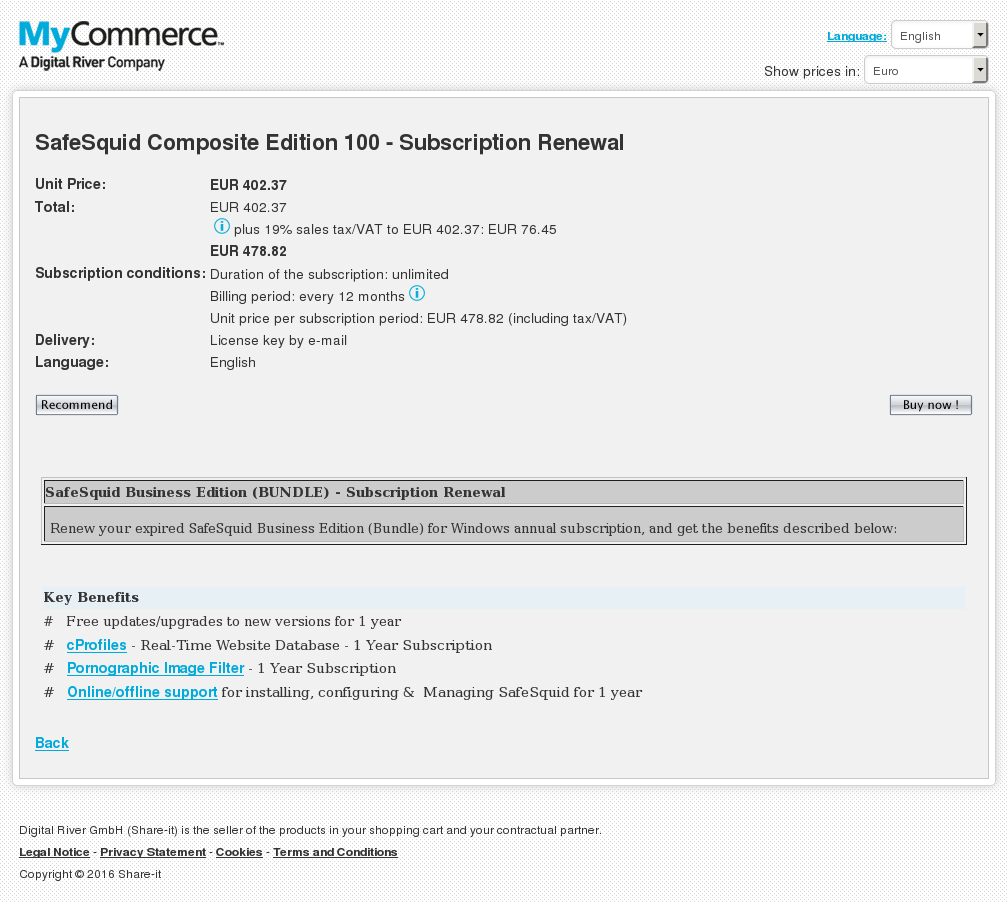 Safesquid Composite Edition Subscription Renewal Key Information