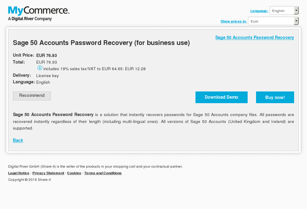 Sage Accounts Password Recovery Business Use Review