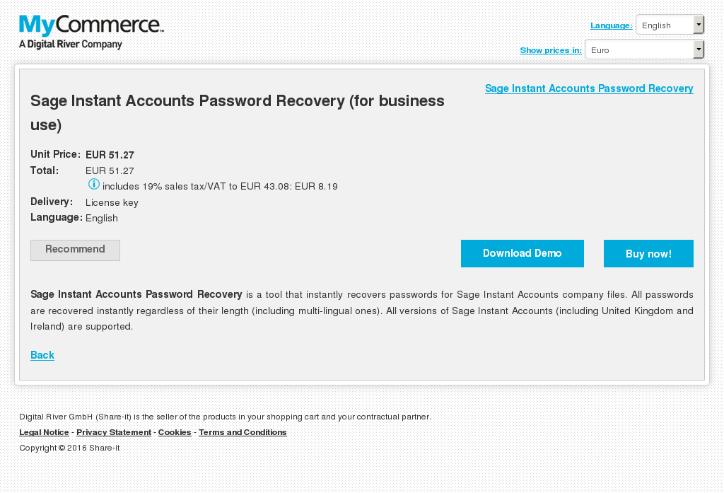 Sage Instant Accounts Password Recovery Business Use Review