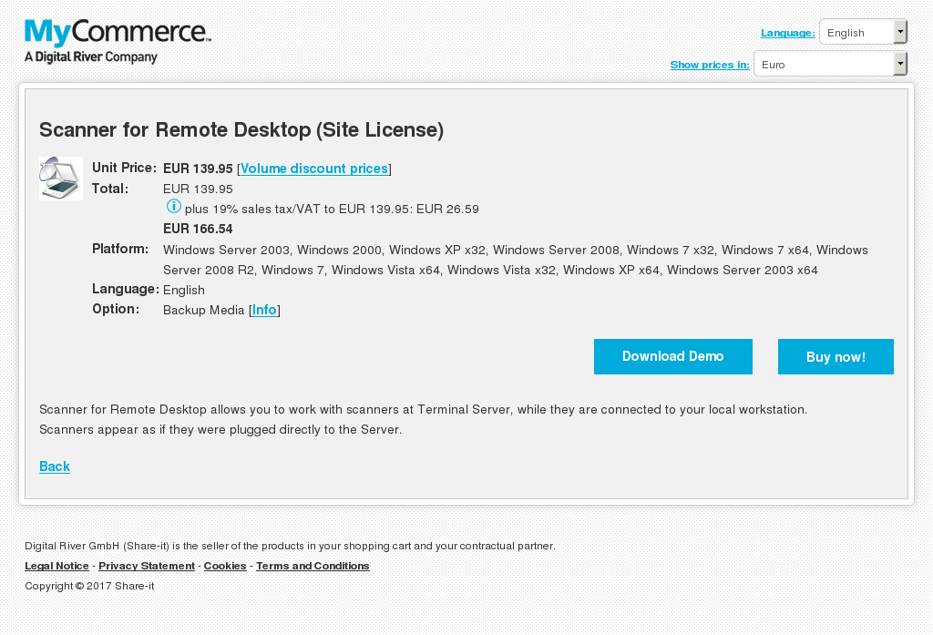 Scanner Remote Desktop Site License Features