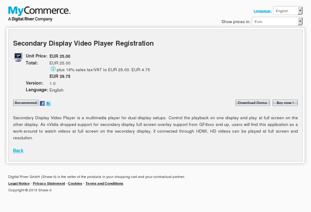 Secondary Display Video Player Registration Alternative