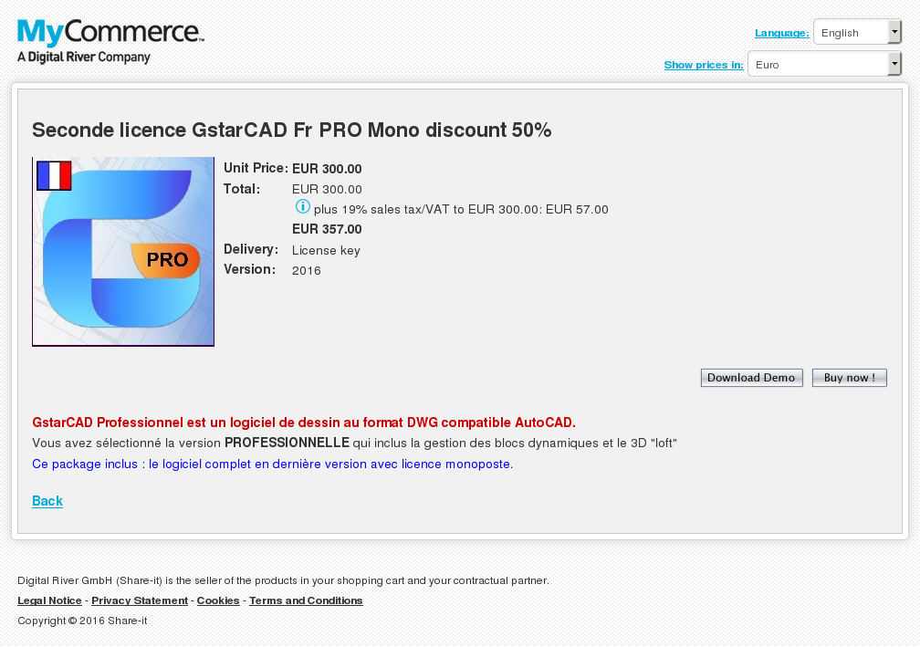 Seconde Licence Gstarcad Pro Mono Discount Key Information