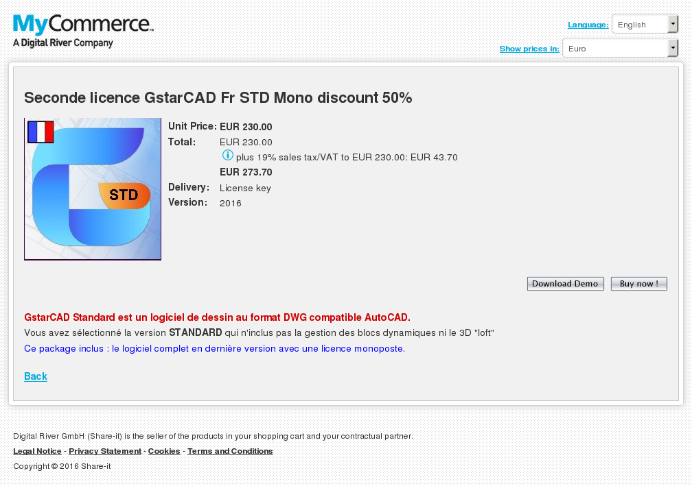 Seconde Licence Gstarcad Std Mono Discount Key Information