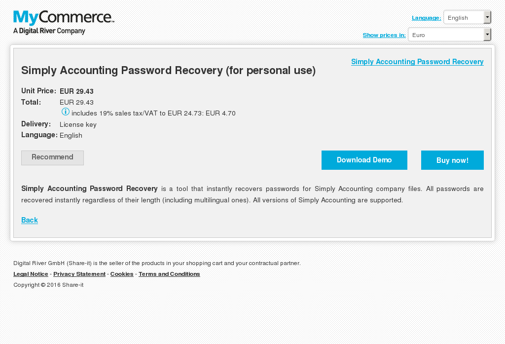 Simply Accounting Password Recovery Personal Use Key Information