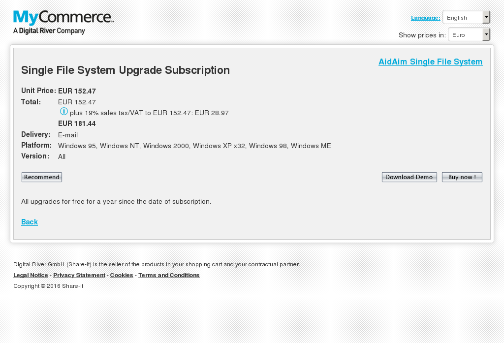 Single File System Upgrade Subscription