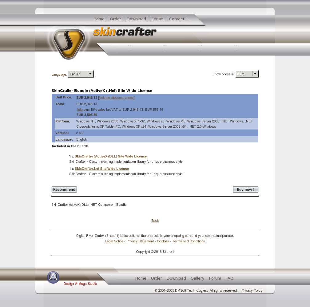 Skincrafter Bundle Activex Net Site Wide License