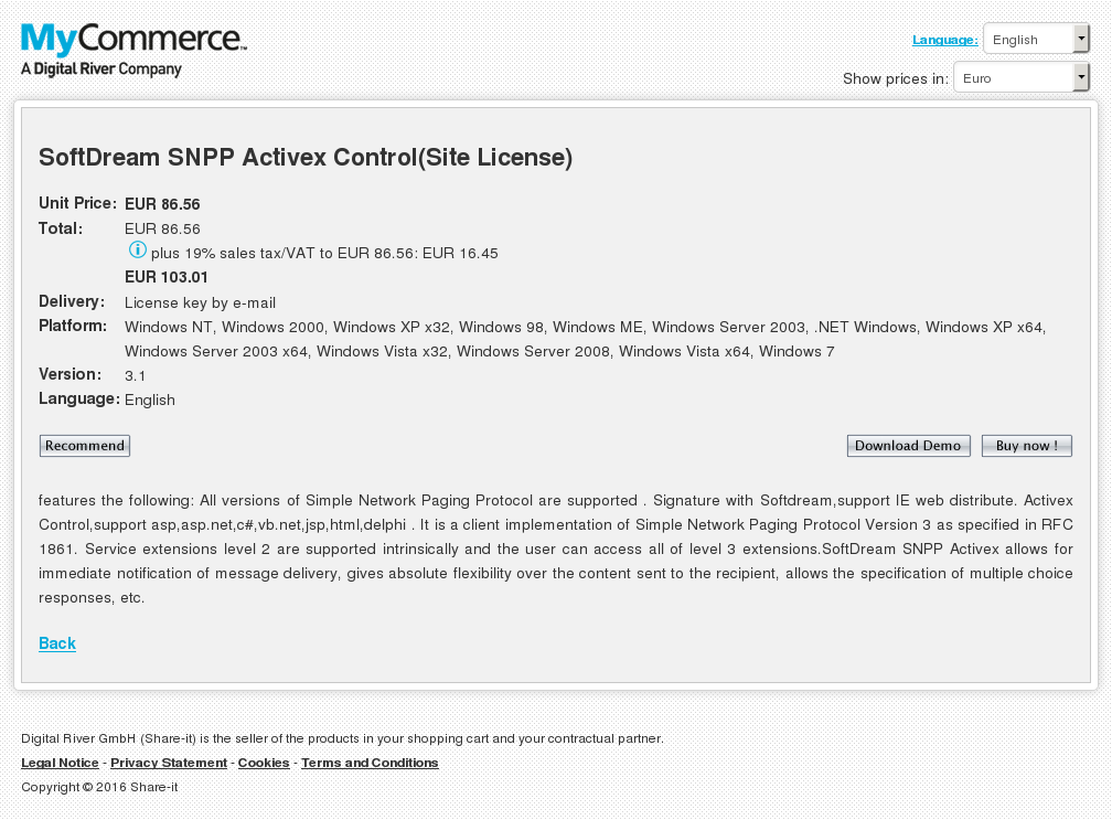 Softdream Snpp Activex Control Site License