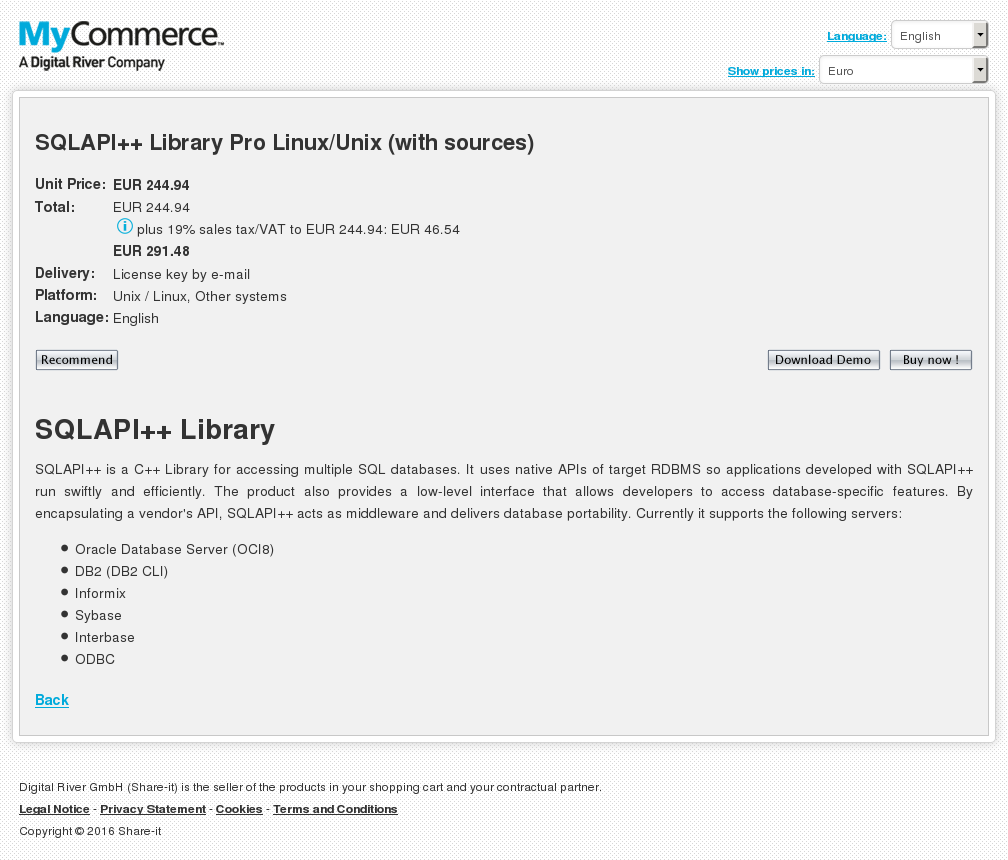 Sqlapi Library Pro Linux Unix With Sources